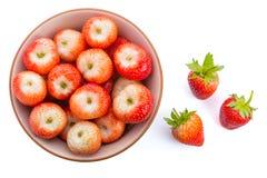 Röda mogna jordgubbar i en bunke Royaltyfri Fotografi