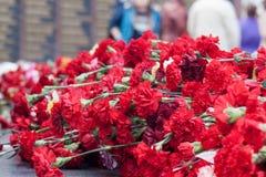 Röda nejlikablommor på en minnesmärke marmorerar brädet Minnesmärke till stupade soldater i världskriget II arkivbilder