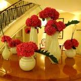 Röda nejlikor - blommor på mottagandeområdet Royaltyfria Foton