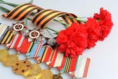 Röda nejlikor som binds med det St George bandet och medaljer med ord Royaltyfri Bild