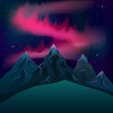 Röda nordliga ljus över realistisk vektornatt för berg Arkivfoton