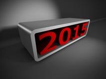Röda 2015 nummer 3d på mörk bakgrund Arkivfoton