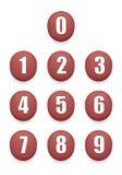 Röda nummerknappar vektor illustrationer