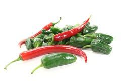 röda nya gröna pimientos för chilis Arkivbilder