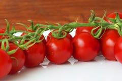 Röda nya saftiga tomater på en platta Arkivfoton