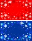 Röda och blåa bakgrunder för vinter Jul Royaltyfria Foton