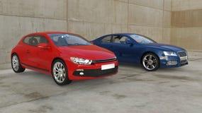 Röda och blåa bilar utanför Arkivfoto