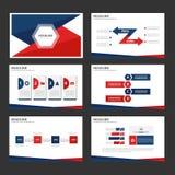 Röda och blåa infographic beståndsdel- och symbolspresentationsmallar sänker designuppsättningen för website för broschyrreklambl Royaltyfri Bild