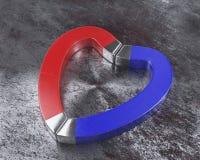 Röda och blåa magneter på rostigt golv Royaltyfria Foton