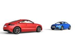 Röda och blåa moderna bilar på vit bakgrund Arkivbild