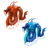Röda och blåa ormdrakar Isolerad vektor vektor illustrationer