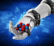 Röda och blåa preventivpillerar för Robotic handinnehav illustration 3d Royaltyfri Fotografi