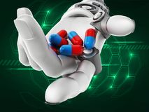 Röda och blåa preventivpillerar för Robotic handinnehav illustration 3d Royaltyfri Foto