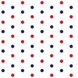 Röda och blåa prickar på sömlös patt för vitt tema för bakgrund marin- Arkivbild