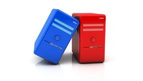 röda och blåa skrivbords- PC för 3d Arkivbild