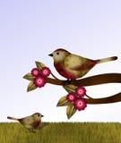 Röda och bruna fåglar och blommor Royaltyfri Fotografi
