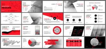 Röda och gråa presentationsmallar Royaltyfri Fotografi