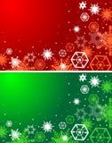 Röda och gröna bakgrunder för vinter Jul Arkivfoto