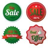 Röda och gröna försäljningsetiketter Arkivbild