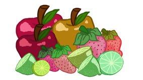 Röda och gröna frukter Arkivbilder