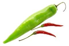 Röda och gröna kyliga peppar Royaltyfria Foton