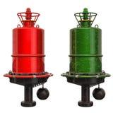 Röda och gröna navigations- boj, tolkning 3D stock illustrationer