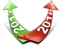 2017 2018 röda och gröna pilar - nytt år Arkivfoton