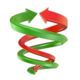 Röda och gröna spirala pilar 3d framför Arkivbild
