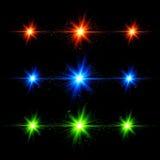 Röda och gröna technostilexplosioner för blått, ställde på in Royaltyfria Bilder