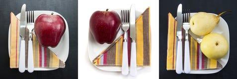 Röda och gula äpplen på vita plattor, uppsättning Vitaminet, låg-kalorin, vegetarian och sakkunniga bantar frukostar och sunt Royaltyfri Fotografi