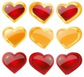 Röda och gula hjärtor Royaltyfria Bilder
