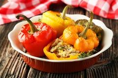 Röda och gula peppar som är välfyllda med köttet, risen och grönsakerna Fotografering för Bildbyråer