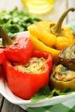 Röda och gula peppar som är välfyllda med köttet, risen och grönsakerna Royaltyfri Foto