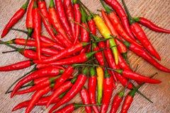 Röda och gula varma peppar Arkivbilder