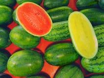Röda och gula vattenmelon Royaltyfria Bilder