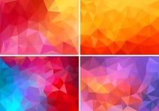 Röda och rosa låga poly bakgrunder, vektoruppsättning Arkivfoton