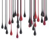 röda och svarta glansiga målarfärgdroppklickar för 3D Arkivbilder