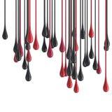 röda och svarta glansiga målarfärgdroppklickar för 3D Arkivfoton
