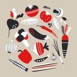 Röda och svarta grönsaker för vektor Royaltyfria Foton