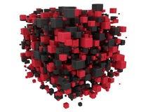 Röda och svarta kuber 3d Royaltyfri Bild