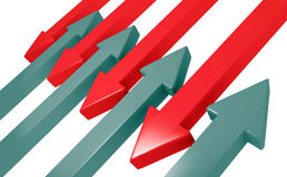 Röda och svarta pilar som flyttar sig in mot de Royaltyfria Bilder