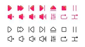 Röda och svarta symboler för massmediaspelare multimedior abstrakt pilbildvektor royaltyfri illustrationer