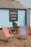 Röda och vita deckchairs som sitter på singel, sätter på land med ett tecken för ny fisk Royaltyfria Foton