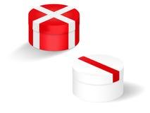 Röda och vita gåvaaskar Arkivbild