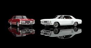Röda och vita klassiska bilar Royaltyfri Bild
