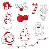 Röda och vita knapphändiga julsymboler stock illustrationer