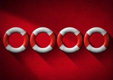 Röda och vita livboj för hjälpbegrepp - Royaltyfri Foto