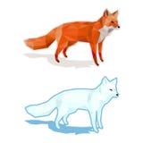 Röda och vita rävar på vit med skugga - lågt poly stock illustrationer