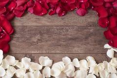 Röda och vita roskronblad på träbakgrunden Rose Petals Border på en trätabell Bästa sikt, kopieringsutrymme den blom- ramen inram Arkivfoton