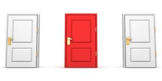 Röda och vita stängda dörrar som choice begrepp Arkivbilder